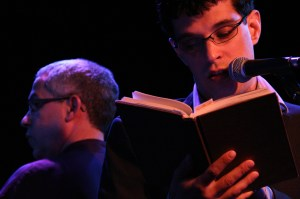 Steven Galloway reading with Sal Ferreras conducting in the background